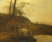 Картина автора Бот Ян под названием Men with an Ox and Cattle by a Pool