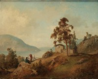 Картина автора Валберг Альфред под названием A fjord landscape with figures