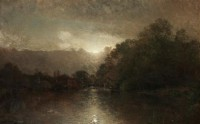 Картина автора Валберг Альфред под названием Moonlit river landscape