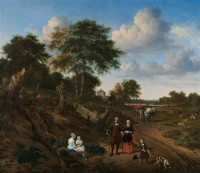 Картина автора Велде Адриан под названием Portrait of a Couple with two Children and a Nursemaid in a Landscape