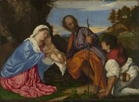 Картина автора Вечеллио Тициан под названием The Holy Family with a Shepherd