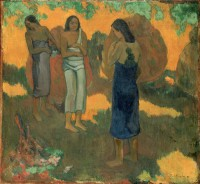 Картина автора Гоген Поль под названием Three Tahitian Women Against a Yellow Background