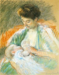 Картина автора Кассат Мэри под названием Mother Rose Nursing Her Child (Rose Allaitant son enfant), pastel sur papier