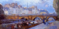 Картина автора Лебург Альберт под названием The Pont Neuf and the Monnaie Lock  				 - Новый мост и Замок Монне