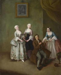 Картина автора Лонги Пьетро под названием An Interior with Three Women and a Seated Man
