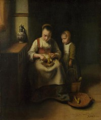 Картина автора Маес Николас под названием A Woman scraping Parsnips, with a Child standing by her