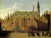 Картина автора Санредам Питер Янс под названием The Town Hall of Haarlem with Prince Maurits Replacing the Town Government
